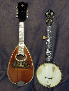 Antique Washburn Piccolo Banjo with presentation style inlay, and Washburn Bowlback Mandolin Style This has 44 rosewood ribs, pearl engraved fingerboard, pearl tuner buttons, and engraved silver tailpiece and tuner cover plate. Presentation Styles, Banjos, Mandolin, Ribs, Violin, Guitars, Folk, Blues, Music Instruments