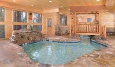 Love this cabin with a stream for a pool