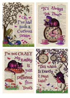 Set of 4 Alice in Wonderland Antique Book page Art Prints A4-Nursery -Set 1 Pink