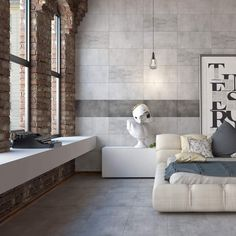 With their realistic concrete effect design, these Matcha Grey Tiles are perfect for injecting the trendy industrial look into your wall and floor spaces. Concrete Tiles, Stone Tiles, Feature Tiles, Grey Tiles, Wall Mounted Mirror, Wet Rooms, Stone Flooring, Decoration, Houses
