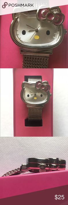 Hello Kitty watch Super cute Hello Kitty watch. Watch is still strapped into the box. Battery needs to be replaced. No scratches, all shiny and new! Hello Kitty Accessories Watches