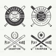 Vintage baseball logos, emblems, badges and design elements. royalty-free stock vector art