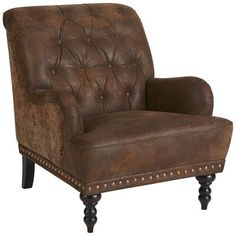 Our overstuffed Chas Tapestry Armchair looks and feels like it came straight from an English manor. Carved hardwood legs, button-tufted upholstery, nailhead trim and handsome tapestry accents make it a classic—all without squandering the inheritance. Furniture Sale, Discount Furniture, Living Room Furniture, Furniture Chairs, Brown Furniture, Handmade Furniture, Furniture Ideas, Furniture Collection, Brown Accent Chair