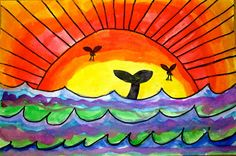 Exploring ideas in Elementary Art Spring Art, Summer Art, Color Art Lessons, Square 1 Art, 2nd Grade Art, Grade 2, Warm And Cool Colors, School Art Projects, Ocean Art