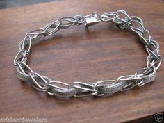 """Vintage Silver 1950's Wire Mesh Link Charm Bracelet for Charms 7 1 2"""" 10 69g 