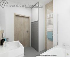 Projekt łazienki Inventive Interiors - biało szara łazienka z jasnym drewnem; ciekawa szafa na pralkę