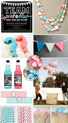 "Gender Reveal Party or Neutral Baby Shower Ideas {""Pink vs. Blue"" Picks} Love these ideas! Gender Party, Baby Gender Reveal Party, Baby Party, Baby Shower Parties, Shower Party, Bebe Shower, Baby Time, Reveal Parties, Vs Pink"