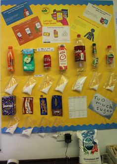 The Ryleys School sugar display. We looked at the sugar content of our favourite treats and weighed out the sugar content. It was great for the children to easily see how much sugar there is in food. School Displays, Food Displays, Classroom Displays, Science Fair Projects, School Projects, Projects For Kids, Science Ideas, Oral Health, Health And Nutrition