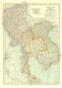 East India  Burma Siam French Indochina 1930s Large to by carambas, $25.00