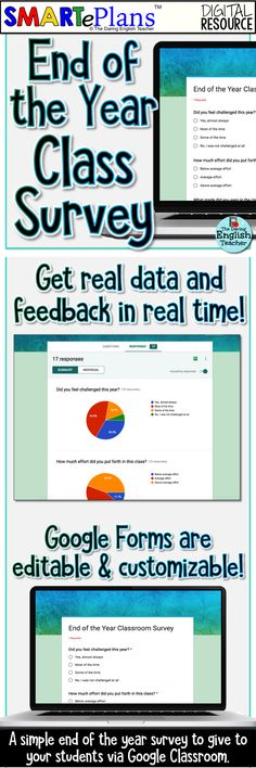 End of the year classroom survey for middle school and high school students. Google forms survey. Ideal for the last week of school or the last day of school.