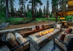 Rustic mountain cabin in Northern California infused with Texas charm Home Design Decor, Patio Design, Garden Design, Design Ideas, Outdoor Fire, Outdoor Living, Home Landscaping, Fire Pit Backyard, Architecture