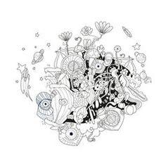 Wild cartoon world print design #fotolia #illustration #fantasy #world #monsters #children #kids #happy #fun #land #flowers #party #cover #print #poster #card #postal
