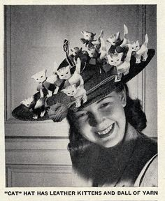 """Cat"" Hat by ulmerigel, via Flickr. Life magazine, Jul 16, 1945. For the crazy cat lady who has everything."