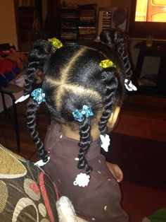 Black toddler hair. 2strand twists 5 ponytails ORS shea moisturizers.