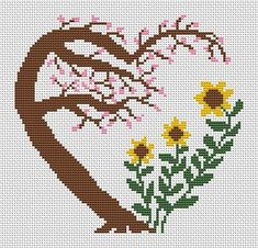 Garden heart cross stitch pattern cherry by ClimbingGoatDesigns Modern stylised cross stitch pattern of a heart made up of a cherry tree and sunflowers. A fun and easy stitch using only four colours. Cross Stitch Tree, Cross Stitch Heart, Cross Stitch Flowers, Modern Cross Stitch, Cross Stitch Designs, Cross Stitch Patterns, Cross Stitch Boarders, Cross Stitching, Cross Stitch Embroidery