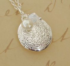 Small Silver Christmas Locket Necklace by BackstreetCreations