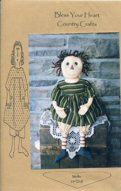 """FREE US SHIP Bless Your Heart Country Crafts 23"""" Doll Mollie Primitive Folk Art Uncut New Old Store Stock Sewing Pattern Ragdoll cloth by LanetzLivingPatterns on Etsy"""