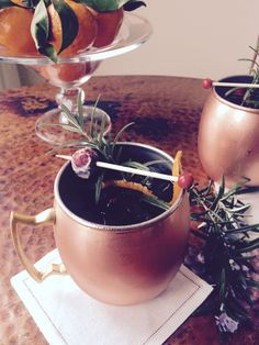 Holiday Cocktail Recipe: MERRY MULE —Cranberry, rosemary and citrus Moscow Mule. Moscow Mule Copper Mug from west elm