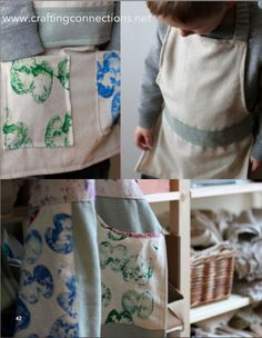 """Beautiful tutorial on creating """"mama and me"""" aprons for cooking or crafting. 