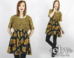 #Vintage #90s #Grunge Mini #Sunflower #Dress, fits up to PLUS SIZE by #shopEBV http://etsy.me/1iwCfZC via @Etsy #etsy #plussize #sunflowers, $68.00