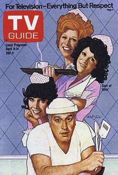 """Cast of """"Alice,"""" starring Linda Lavin, on TV Guide Cover by Richard Amsel"""