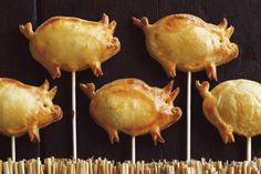 Porky pie pops: savoury pies on sticks invented by pastry chef Carol Hilker