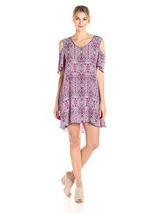 Women's Printed Short Sleeve Cold Shoulder Swing Dress