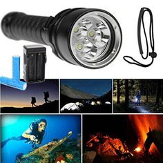 Super bright 8000Lm 3x XM-L2 T6 LED Underwater 120M Scuba Diving 18650 Flashlight Torch Lamp Best suited for: diving, camping, hiking, trekking, hunting, fishing, car emergency -- Awesome products selected by Anna Churchill