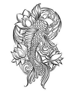 lotus flower tattoo designs: Hand drawn Asian spiritual symbols - koi carp with lotus and waves. It can be used for tattoo and embossing or coloring Illustration