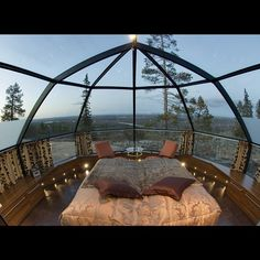 Glass roof igloo in Finnish Lapland