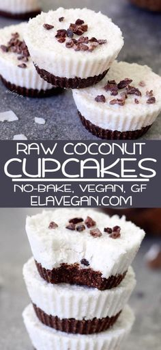 Raw Coconut Cupcakes, A Vegan And Gluten Free Recipe Which Is Easy To Make And Furthermore Refined Sugar-Free And Low-Carb Raw Dessert Recipes, Healthy Vegan Desserts, Raw Desserts, Raw Vegan Recipes, Coconut Recipes, Easy Cake Recipes, Dairy Free Recipes, Delicious Desserts, Gluten Free