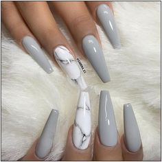 Why do acrylic nails always look way better then natural nails? There is just something about acrylic nails that are simply fabulous and we have found a bunch of awesome acrylic nail designs. Aycrlic Nails, Cute Nails, Manicures, Nails 2016, Stone Nails, Sculpted Nails, Best Acrylic Nails, Acrylic Nails Coffin Grey, Winter Acrylic Nails