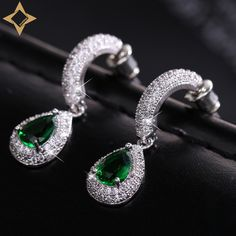 Find More Drop Earrings Information about Imitation Emerald Green Half Hoop Pear Drop Earrings with Wide Accumulated CZ Teardrop Cubic Zirconia Pierced Tear Post Earring,High Quality jewelry gift boxes for sale,China earrings bar Suppliers, Cheap jewelri from Dreamland Dresses & Accessories on Aliexpress.com