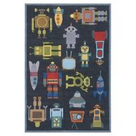 To stand on this whimsical robot rug would be a dream.