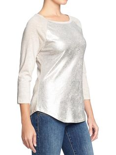 Old Navy | Women's Metallic-Foil Raglan Tees