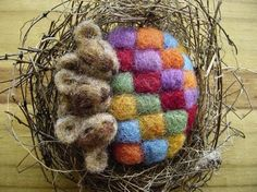 ADORABLE! Needle felted mice in a nest by Nancy Bevins
