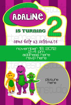 Barney Themed Birthday Invitation - Printable