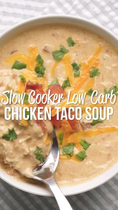 Slow Cooker LOW CARB Chicken Taco Soup - Chicken, diced tomatoes and green chiles, cream cheese, southwestern seasoning, ranch seasoning & chicken broth. Crock Pot Recipes, Crock Pot Soup, Slow Cooker Recipes, Chicken Recipes, Cooking Recipes, Healthy Recipes, Healthy Soup, Pea Soup Crockpot, Diet Recipes