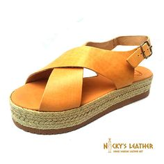 LEATHER SANDALS Platform Sandals from Full Grain Leather Handmade by NickysLeather