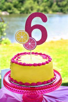 Lemonade Party Custom Cake Topper - Sweet Pink Lemonade Collection from Tea Party Designs