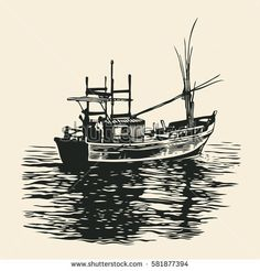 Fishing boat. Hand Drawn Decorative Design Element In Engraving Style. Vector Illustration.