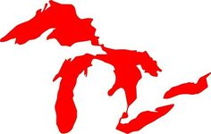 Michigan Great Lakes 3 RED Vinyl Decal Sticker * You can find more details by visiting the image link.