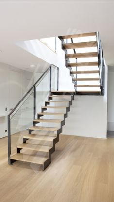 Risultati immagini per escalier double quart tournant avec palier Metal Stairs, Glass Stairs, Modern Stairs, Floating Stairs, Interior Stairs, Home Interior, Interior Design Living Room, Living Room Designs, Küchen Design