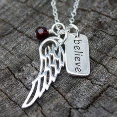 "Custom Birthstone Necklace - Silver ""Believe"" Charm . Silver Angel Wing . Custom Swarovski Birthstone . Faith . Angels . Protection"