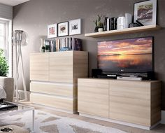 Rimobel Duo Modern TV Unit, Cabinet & Wall Shelf in Natural and White Wood