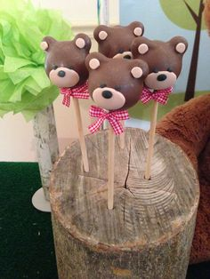 Teddy Bear Picnic Birthday Party cake pops!  See more party planning ideas at CatchMyParty.com!