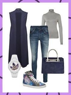 What to wear to work: Sneakers ins Büro? In Kombination mit klassischen Basics wie der Longbluse und einem schlichten Rollkragenpullover gar kein Problem!