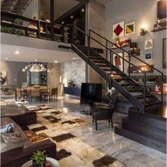 Beautiful modern design elements in this loft. Love the open space lofts provide. Loft Design, Deco Design, Design Case, Design Design, Studio Design, Urban Design, Dream House Design, Design Miami, Unique House Design