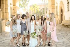 love these mis-matched bridesmaids colors together