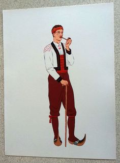 LITHOGRAPHIE 1939 COSTUME TRADITIONNEL FOLKLORE PYRENEES BETHMALE VARAGNAC